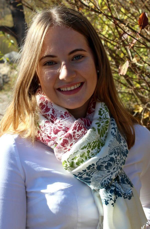 Farbenfroher Pashmina Schal für Damen in Rosa, Grün und Blau