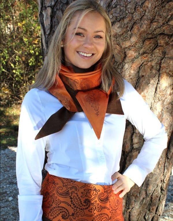 Moderne Trachten Kombination aus Doupionseide und Merinowolle in Braun und Orange